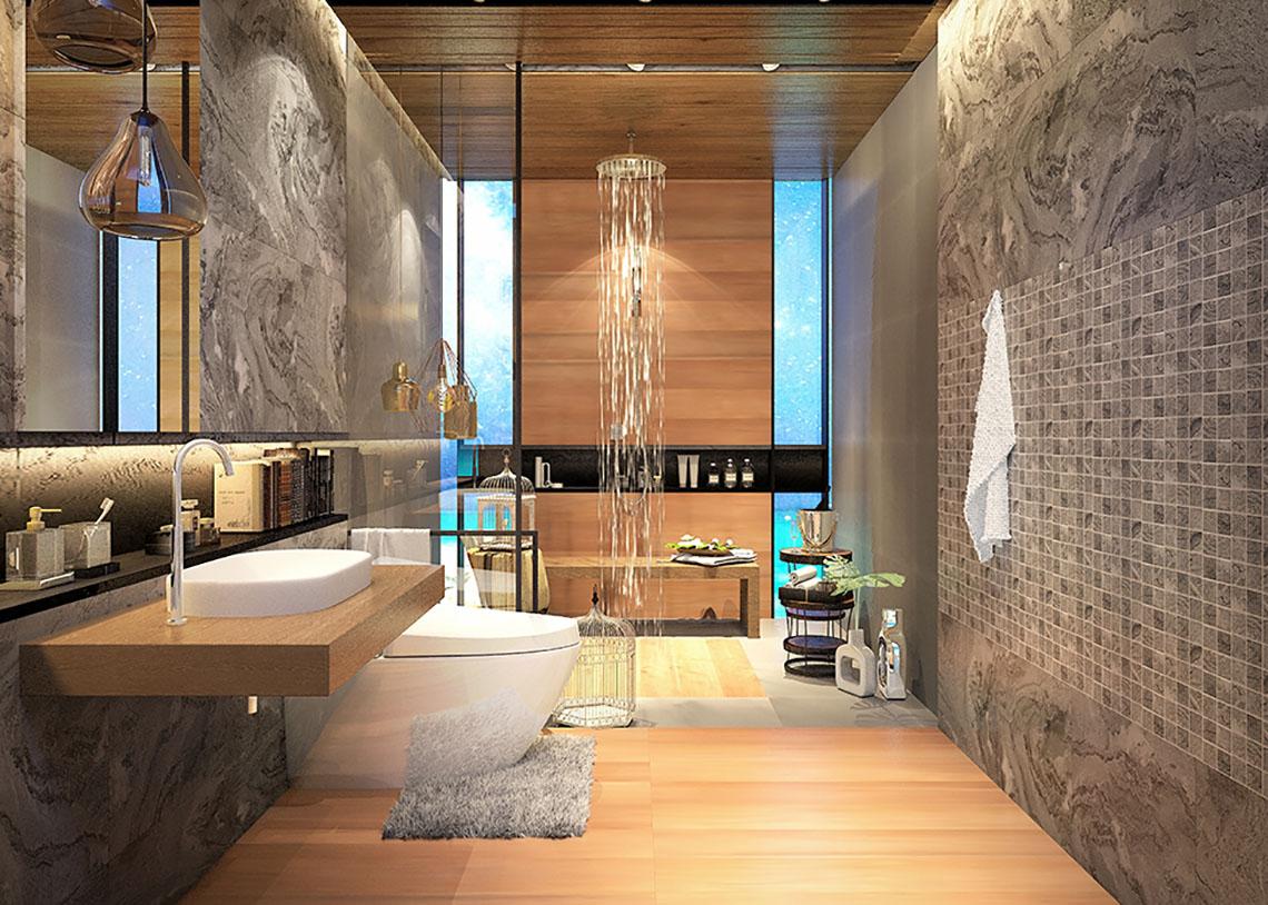 ห้องน้ำ สไตล์รีสอร์ท พักผ่อนและผ่อนคลายไปกับ แบบห้องน้ำ ลายหินธรรมชาติ